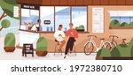 happy modern people sitting on...   Shutterstock .eps vector #1972380710