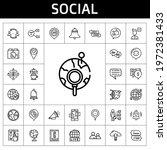 social icon set. line icon...