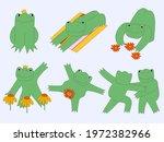 funny frog stickers.hippie...   Shutterstock .eps vector #1972382966