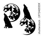 howling wolf sitting on full...   Shutterstock .eps vector #1972405559
