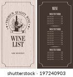 menu with a bottle of wine ... | Shutterstock .eps vector #197240903