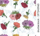seamless pattern with summer... | Shutterstock .eps vector #197243960