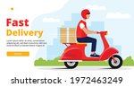 fast delivery web banner. male ... | Shutterstock .eps vector #1972463249
