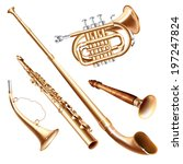 Musical background series. Set of brass wind instruments, isolated on white background . Vector illustration