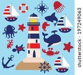 vector yacht illustration | Shutterstock .eps vector #197249063