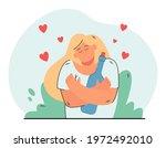 happy girl hugging bottle of... | Shutterstock .eps vector #1972492010