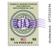 Postage stamp commemorating the founding of the American Federal Reserve System, founded on December 23, 1913. Seal in center of Bank of Boston, Massachusetts