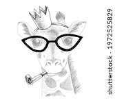 hand drawn portrait of giraffe... | Shutterstock .eps vector #1972525829