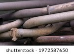 Old Rusty Exhaust Pipes Stored...