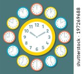 retro vector clocks showing all ... | Shutterstock .eps vector #197269688