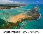 Small photo of Red sand island that appears at low tide, is one of the major tourist attractions of the state. Cabedelo, near Joao Pessoa, Paraiba, Brazil on November 15, 2012. Aerial view.