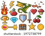 pixel game elements. games ui...