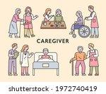 various duties of the elderly... | Shutterstock .eps vector #1972740419