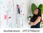 woman reading information on... | Shutterstock . vector #1972740623