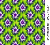 Seamless Blue and Violet Daisy Flower / A digital abstract fractal image with a seamless tiled daisy flower design in blue, violet, green and yellow. - stock photo