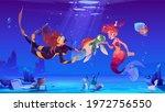 diver girl and mermaid help...   Shutterstock .eps vector #1972756550