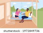 friends meeting on patio  flat...   Shutterstock .eps vector #1972849736