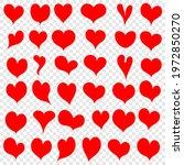 hearts red   set of doodle... | Shutterstock .eps vector #1972850270