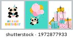 cute birthday cards with panda... | Shutterstock .eps vector #1972877933