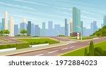 landscape of urban city park....   Shutterstock .eps vector #1972884023