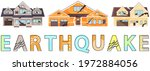 houses destroyed by earthquake. ... | Shutterstock .eps vector #1972884056