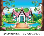 fairy tale house with a pink... | Shutterstock .eps vector #1972938473