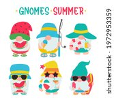 gnomes summer. gnomes wear hats ... | Shutterstock .eps vector #1972953359