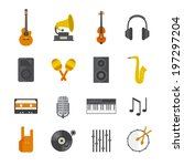 flat music icons set  | Shutterstock .eps vector #197297204