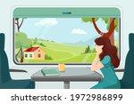 the girl looks thoughtfully... | Shutterstock .eps vector #1972986899