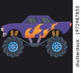 A Big Purple Monster Car With...