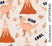 tyrannosaurus dinosaur seamless ... | Shutterstock .eps vector #1972995860
