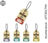 vector  vintage style sale tags ... | Shutterstock .eps vector #197301794