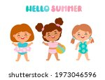 baby girls in swimsuits with a... | Shutterstock .eps vector #1973046596