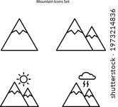 mountain icons set isolated on...