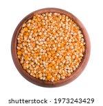 Bowl Of Corn Kernels Top View