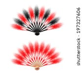 red and black  feathers fan... | Shutterstock .eps vector #197327606