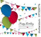 vector birthday card with... | Shutterstock .eps vector #197328776