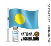 flag of palau with vaccine...   Shutterstock .eps vector #1973341880