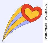 vintage sticker falling heart...   Shutterstock .eps vector #1973365679