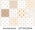 set of patterns with bunnies ...   Shutterstock .eps vector #1973422046
