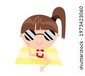 little cute girl in sunglasses...   Shutterstock .eps vector #1973423060