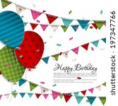vector birthday card with... | Shutterstock .eps vector #197347766