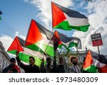 Small photo of London, UK. 11th May 2021. Campaign protesters at the Save Sheikh Jarrah rally for a Free Palestine, urging the UK government to take immediate action and stop allowing Israel to act with impunity.