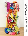 untidy cluttered woman wardrobe ... | Shutterstock . vector #197348603