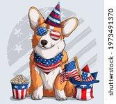 cute welsh corgi fluffy... | Shutterstock .eps vector #1973491370