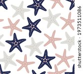 starfish seamless pattern. hand ... | Shutterstock .eps vector #1973511086