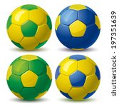 Set Of Soccer Balls In Yellow...