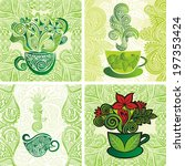 green tea set vector... | Shutterstock .eps vector #197353424