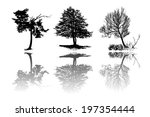 Set Of Tree Silhouettes With...