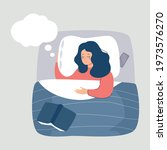 woman sleeping at night in his... | Shutterstock .eps vector #1973576270